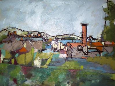 "Wallbridge, Frome II  2008  Oil and Mixed Media on board 1'8"" x 1'3"" SOLD"