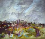 "'Fields and view past Buckland Wood to Chickwell Lane, Buckland Dinham' (2008) Oil and Mixed Media on board 2'4"" x 2'0"" SOLD"