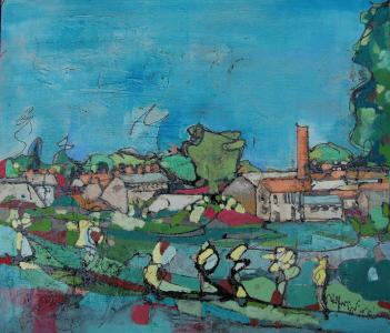 "Wallbridge, Frome  2008  Oil and Mixed Media on board    2'6"" x 2'2""   SOLD"