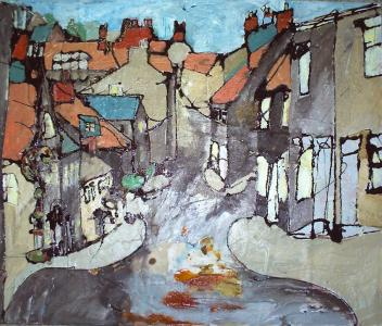 "Whittox Lane, Frome  2008  Oil and Mixed Media on board  2'0"" x 1'8""  SOLD"